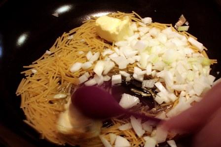 Preparación del arroz Pilaf.