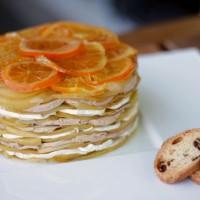 Milhojas de manzana y foie con naranja confitada