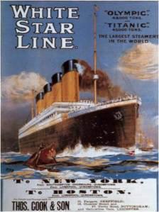 Cartel publicitario del Titanic, 1912.