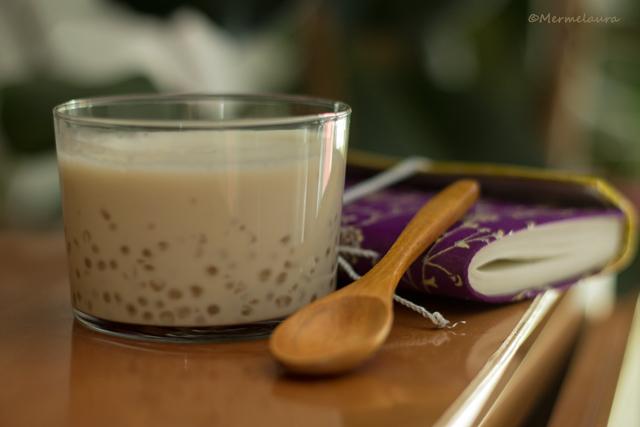 Perlas del Japón con leche de coco.